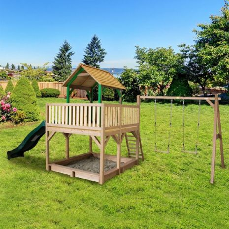 Jumbo Jungle Lookout Playhouse With Sandpit, Wavy Slide and Double Swing